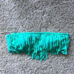 Turquoise strapless swim top